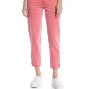 NWT Levi's Mom Cropped Jeans Coral Zipper Sz 23
